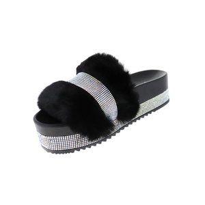🥳HP🥳Faux Fur Rhinestone Platform Sandals Sz 5-10